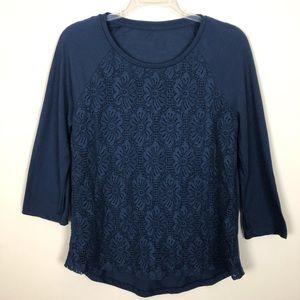 Tops - Navy Blue Daisy Lace Front High Low Top